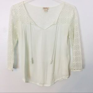 LUCKY BRAND | Lace Sleeve Tunic Tassel Blouse Top
